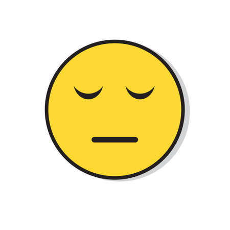 Yellow Sad Face Negative People Emotion Icon Flat Vector Illustration