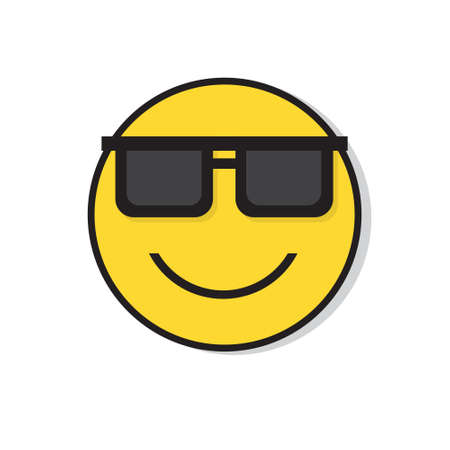 Yellow Smiling Face Wear Sun Glasses Positive People Emotion Icon Flat Vector Illustration