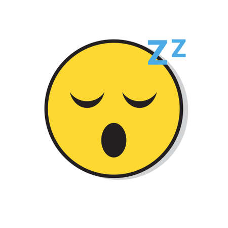 Yellow Smiling Face Sleep Positive People Emotion Icon Flat Vector Illustration