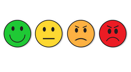 Smiling Face Evaluation Positive And Negative Feedback Emotion Icon Set Flat Vector Illustration