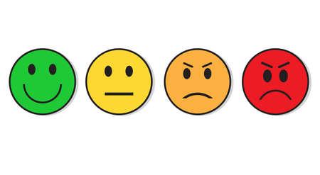 sonrisa de la cara de emoción emocional y emociones negativas conjunto de iconos de la ilustración del vector plana