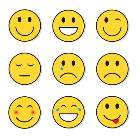 Yellow Smiling Face Positive And Negative People Emotion Icon Set Flat Vector Illustration Illustration