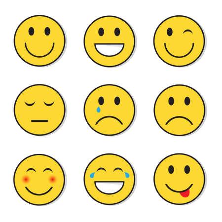 Yellow Smiling Face Positive And Negative People Emotion Icon Set Flat Vector Illustration Ilustração