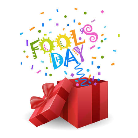 idiot box: First April Fool Day Happy Holiday Greeting Card Flat Vector Illustration