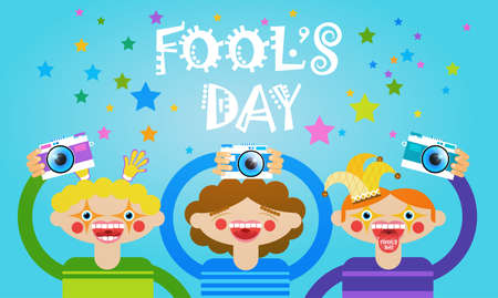 People Group Taking Photo First April Fool Day Happy Holiday Greeting Card Flat Vector Illustration Illustration