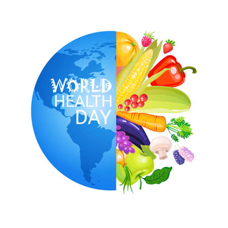 World Health Day 7 April Global Holiday Vitamins And Nutrition Concept Flat Vector Illustration