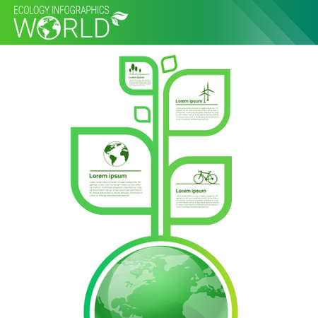 visualize: World Environmental Protection Green Energy Ecology Infographics Banner With Copy Space Vector Illustration Illustration