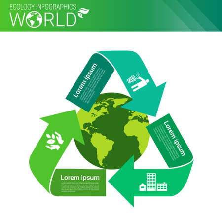 World Environmental Protection Green Energy Ecology Infographics Banner With Copy Space Vector Illustration Illustration