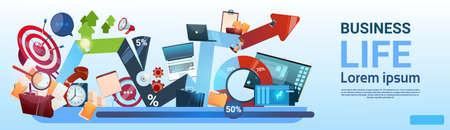 Business Life Concept Marketing Teamwork Document And Target Flat Vector Illustration