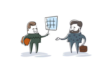 Two Business Man Showing Finance Chart Graph Report Businesspeople Team Brainstorming Illustration