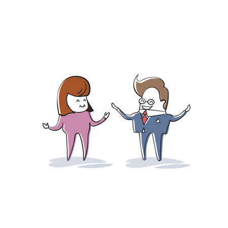 Business Man And Woman Speaking, Businesspeople Meeting Discussion Cartoon Character