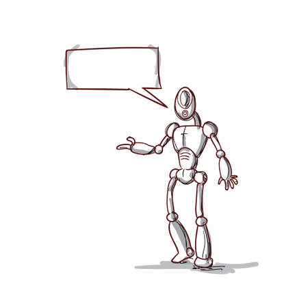 talking robot: Modern Robot Futuristic Mechanism With Chat Bubble Social Network Communication Technology Vector Illustration