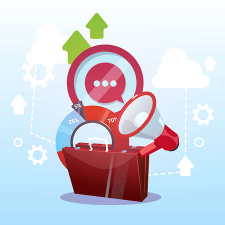 Open Briefcase Marketing Teamwork And Target Business Life Concept Flat Vector Illustration