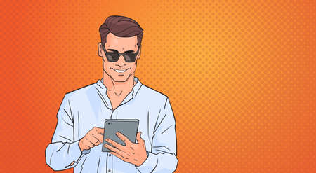 Young Man Using Tablet Computer Networking Online Over Pop Art Colorful Retro Style Background Vector Illustration