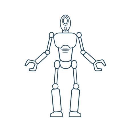 Modern Robot Futuristic Mechanism Thin Line Vector Illustration Illustration