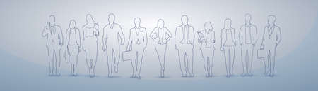 Business People Group Silhouette Executives Team Businesspeople Teamwork Concept Vector Illustration