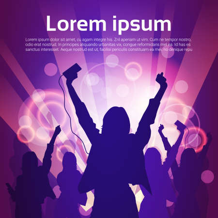crowd happy people: Silhouette Woman Group Dancing Night Club Light Flat Vector Illustration