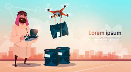 oil and gas industry: Rich Arab Business Man Oil Trade Drone Delivery Black Wealth Concept Flat Vector Illustration