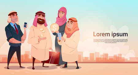 harem: Rich Arab Businessman With Wife Oil Extraction Business Success Flat Vector Illustration