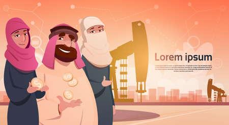 oil and gas industry: Rich Arab Business Man Oil Trade Pumpjack Rig Platform Black Wealth Concept Flat Vector Illustration