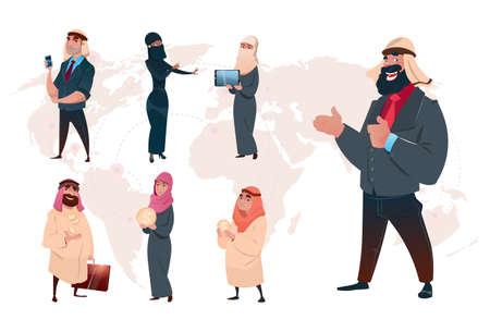 Arab Saudi Business Man Set World Map Background Flat Vector Illustration