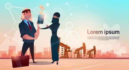 sheik: Rich Arab Business Man Oil Trade Pumpjack Rig Platform Black Wealth Concept Flat Vector Illustration