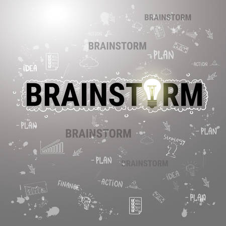 Brainstorm New Business Idea Development Banner Vector Illustration