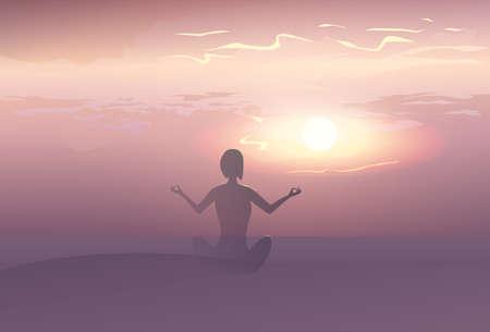 spiritual energy: Yoga Sport Fitness Woman Exercise Workout Silhouettes Girl Sunset Background Vector Illustration Illustration