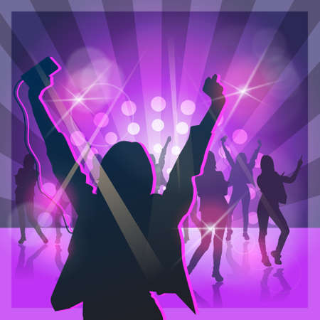 Silhouette Woman Group Dancing Night Club Light Flat Vector Illustration