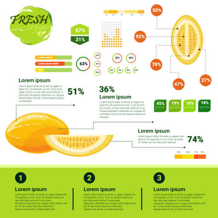 Fresh Organic Infographics Natural Fruits Growth, Agriculture And Farming Flat Vector Illustration Stock Vector - 75594893