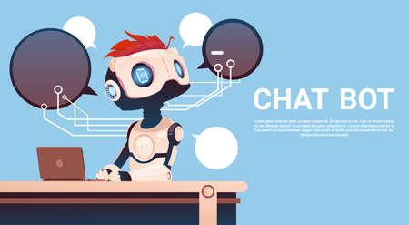 Praat Bot Gebruikend Laptop Computer, Robot Virtuele Hulp van Website of Mobiele Toepassingen, de Vlakke Vectorillustratie van de Kunstmatige intelligentieconcept Stock Illustratie