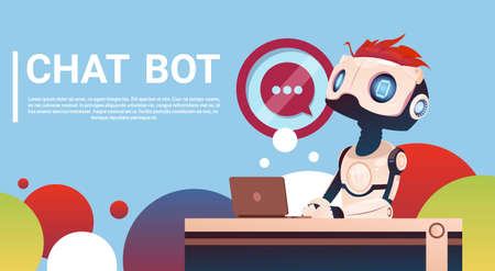 Chat Bot Using Laptop Computer, Robot Virtual Assistance Of Website Or Mobile Applications, Artificial Intelligence Concept Flat Vector Illustration