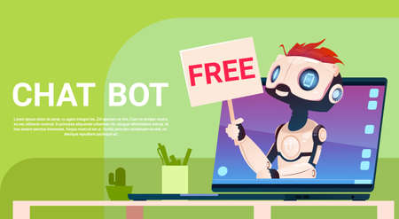 virtual assistant: Chat Bot Free, Robot Virtual Assistance Of Website Or Mobile Applications, Artificial Intelligence Concept Flat Vector Illustration Illustration