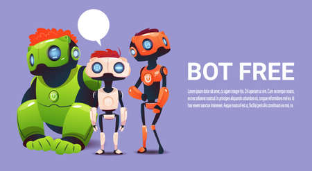 Free Chat Bot, Robot Virtual Assistance Element Of Website Or Mobile Applications, Artificial Intelligence Concept Flat Vector Illustration  イラスト・ベクター素材