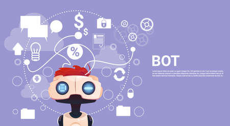 Free Chat Bot, Robot Virtual Assistance Element Of Website Or Mobile Applications, Artificial Intelligence Concept Flat Vector Illustration Illustration