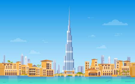 Dubai Skyline Panorama, Modern Building Cityscape Business Travel And Tourism Concept Flat Vector Illustration