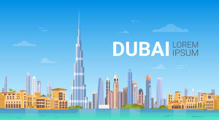 Dubai Skyline Panorama, Modern Gebouw Cityscape Zakenreizen En Toerisme Concept Platte Vectorillustratie