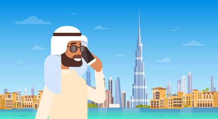 Arab Man Speaking On Cell Smart Phone Call Over Dubai Skyline Panorama, Modern Building Cityscape Flat Vector Illustration