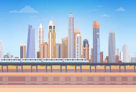 地下鉄以上都市の超高層ビル ビュー景観背景スカイライン コピー スペース ベクトル図  イラスト・ベクター素材