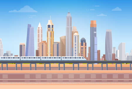 Subway Over City Skyscraper View Cityscape Background Skyline with Copy Space Vector Illustration 向量圖像
