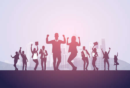 Business People Group Silhouette Excited Hold Hands Up Raised Arms, Businesspeople Concept Winner Success Vector Illustration.