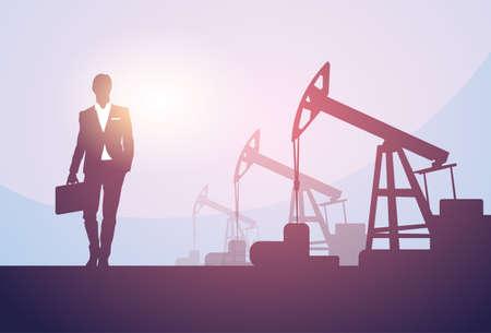 investor: Business Man Pumpjack Oil Rig Crane Platform Banner Flat Vector Illustration.