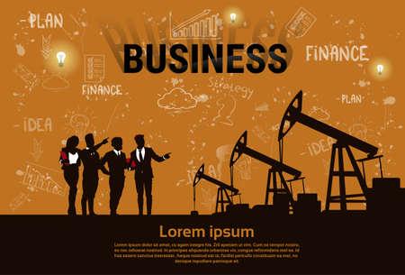 Business People Group Pumpjack Oil Rig Crane Platform Banner Flat Vector Illustration.