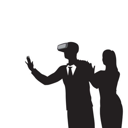 girl wearing glasses: Silhouette Business Man Wear Virtual Reality Digital Glasses Vector Illustration. Illustration