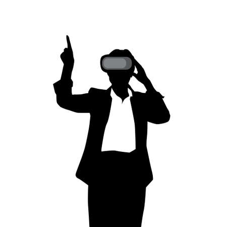 Silhouette Business Woman Wear Virtual Reality Digital Glasses Vector Illustration. Illustration