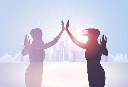 Silhouette Business Woman Wear Virtual Reality Digital Glasses Flat Vector Illustration. Illustration