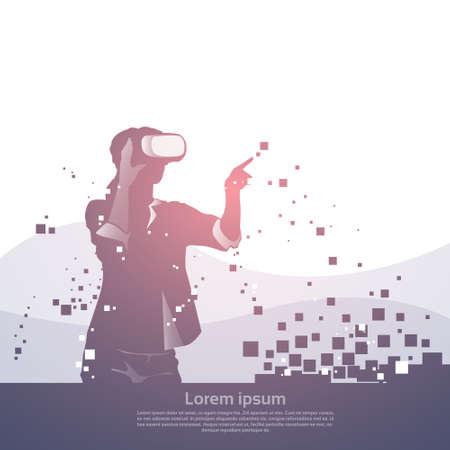 Silhouette Business Man Wear Virtual Reality Digital Glasses Digital Interface Screen Flat Vector Illustration. Illustration
