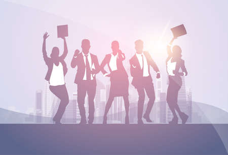 woman arms up: Business People Group Silhouette Excited Hold Hands Up Raised Arms, Businesspeople Concept Winner Success Vector Illustration.