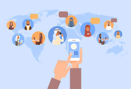 smart: Hand Using Cell Smart Phone, Muslim People Chat Media Communication Social Network Arabic Men and Women Over World Map Flat Vector Illustration