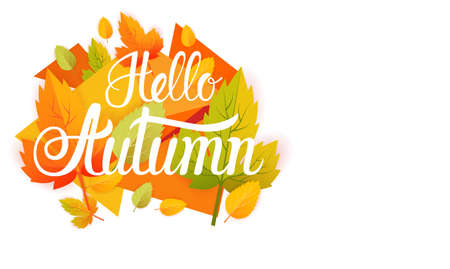 HI: Hello Autumn Yellow Leaf Fall Banner Abstract Background Flat Vector Illustration